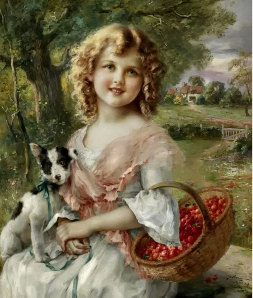 Girl with Cherry by Emile Vernon, Date unknown