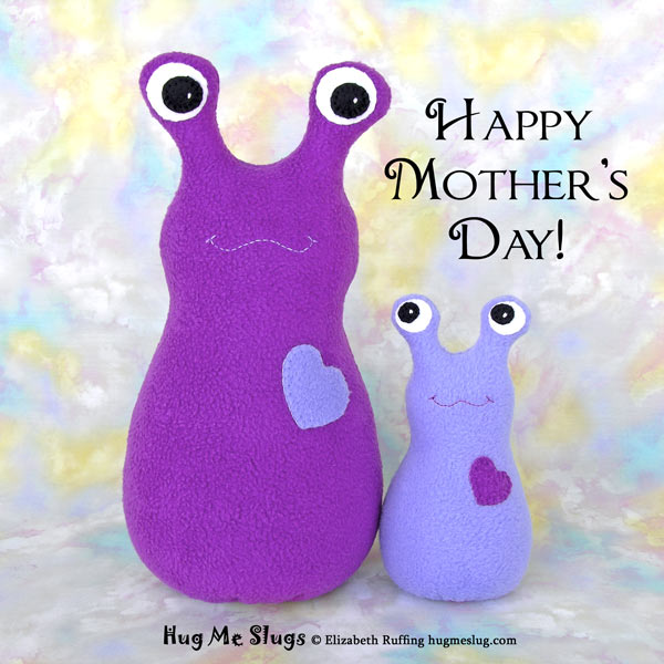 Purple mommy and baby Hug Me Slugs, original art toys by Elizabeth Ruffing