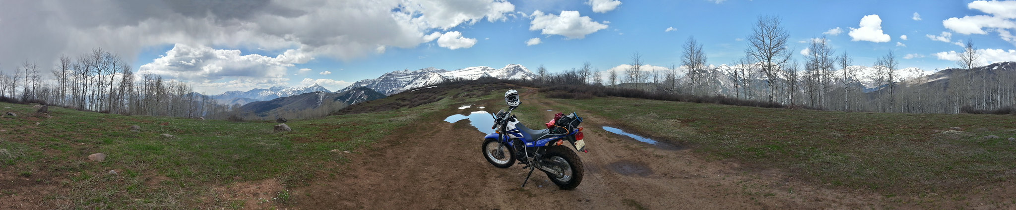 TW200 parked on a trail behind Mount Timpanogos