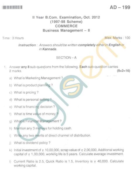 Bangalore University Question Paper Oct 2012:II Year B.Com. - Commerece Business Management
