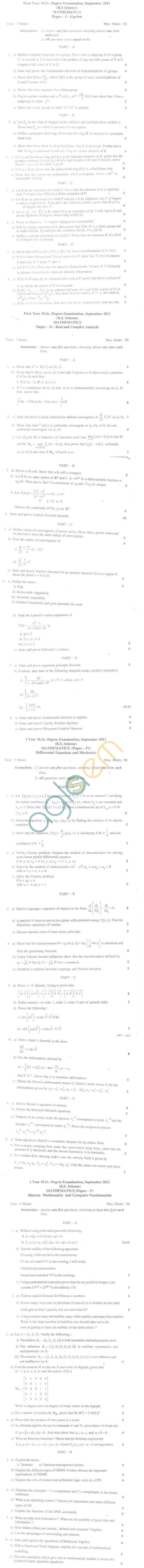 Bangalore University Question Paper September 2011 I Year M.Sc. Degree Examination - Mathematics