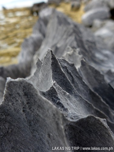 Sharp edges of the limestone rocks in Yaposan Beach in El Nido, Palawan