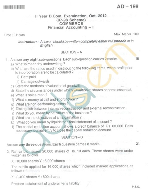 Bangalore University Question Paper Oct 2012: II Year B.Com. - Financial Accounting