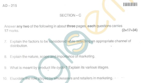 Bangalore University Question Paper Oct 2012 II Year BBM - Business Management Paper III Principles of Marketing