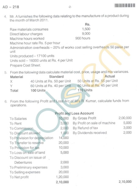 Bangalore University Question Paper Oct 2012II Year BBM - BusinessManagement Paper VI Cost and Management Accounting