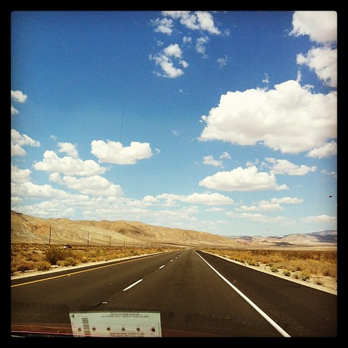Highway 395. #blue #skies #clouds #highway