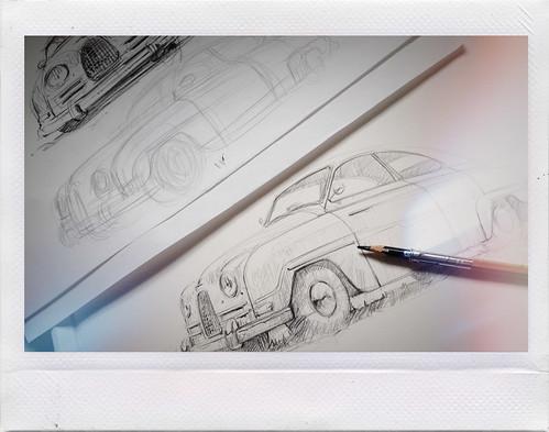 Saab 93b sketch WIP by Stefan Marjoram