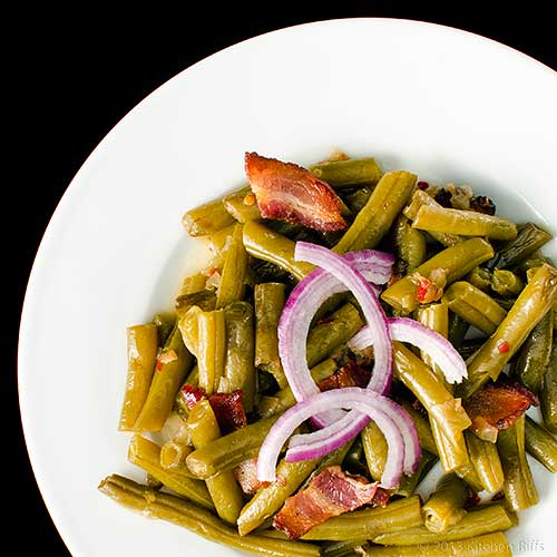Southern Green Beans with Bacon, Overhead view with red onion and bacon garnish