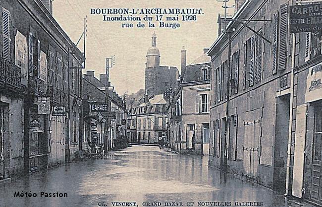 inondation de Bourbon-L'Archambault le 17 mai 1926 météopassion