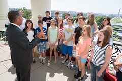 Speaker John Boehner welcomes students from Piqua Catholic School in Piqua, Ohio to the Speaker's Balcony at the U.S. Capitol. May 15, 2013. (Official Photo by Bryant Avondoglio)  --- This official Speaker of the House photograph is being made available only for publication by news organizations and/or for personal use printing by the subject(s) of the photograph. The photograph may not be manipulated in any way and may not be used in commercial or political materials, advertisements, emails, products, promotions that in any way suggests approval or endorsement of the Speaker of the House or any Member of Congress.