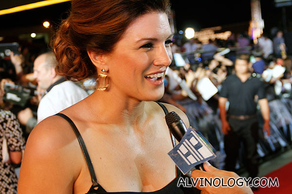 Gina Carano getting interviewed
