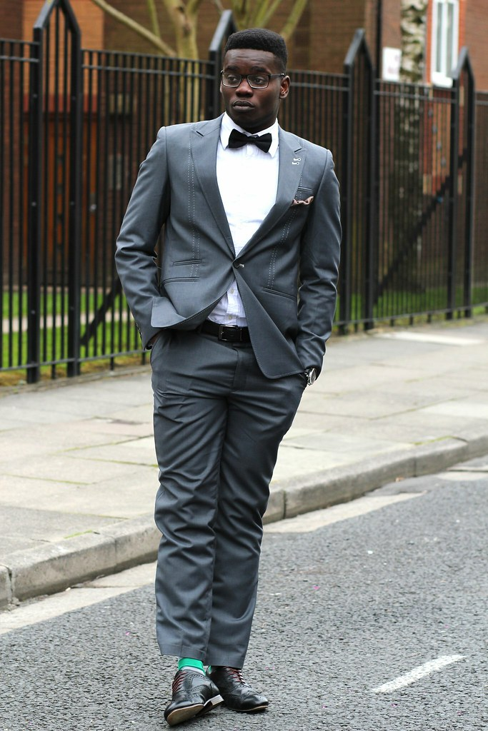 Gray Suit With Black Bow Tie Black Bow Tie Brown