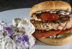 Chicken Burger and Potato Salad