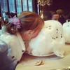 Amelia attacking cotton candy at the Four Seasons!