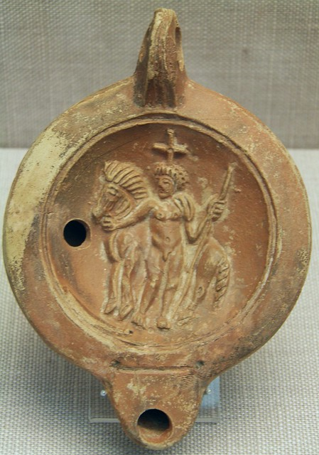 Castor or Pollux, terracotta Roman oil lamp, 2nd century AD, Staatliche Antikensammlungen, Munich