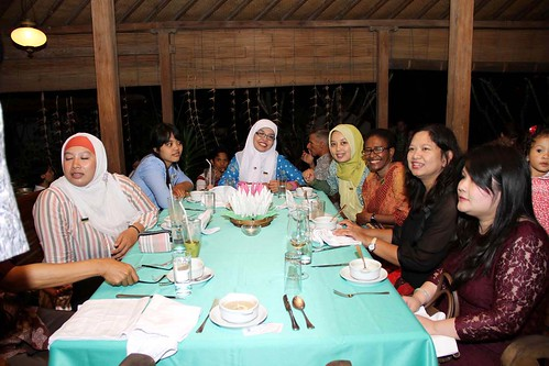 group at dinner in Indonesia