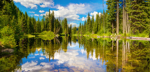 travel trees panorama reflection horizontal clouds forest canon landscape scenery scenic sigma bluesky panoramic idaho 7d photomerge hdr mccall payettelake photomatix 1750mm
