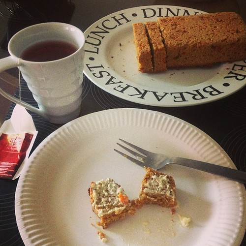 merienda time...baked myself a nice loaf of carrot bread and tea on the side
