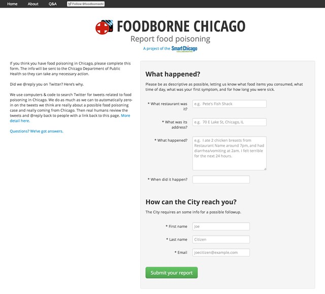 Foodborne Chicago - Report incidents of food poisoning in Chicago