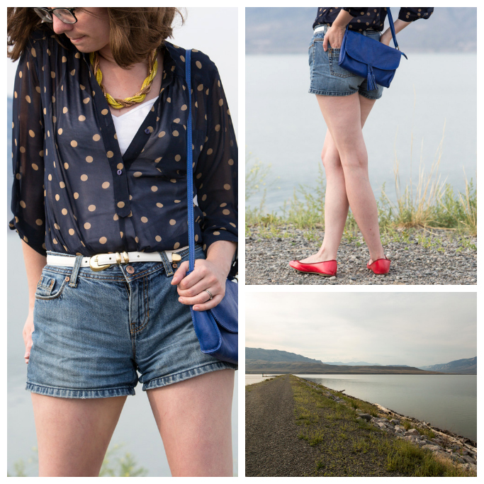TheNewLook, Never Fully Dressed, Polka dot Shirt, Shorts, Red Shoes, Popbasic, modcloth,