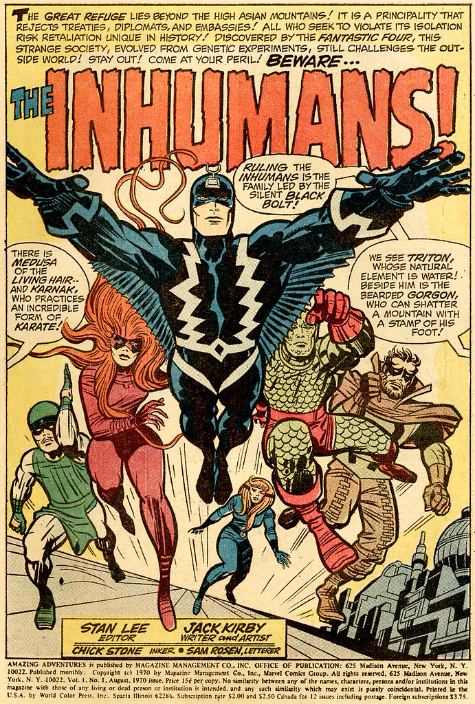 Amazing Adventures 1 1970 Inhumans splash by Jack Kirby