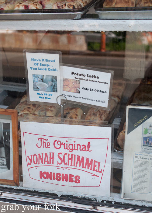 knish and potato latke vintage sign at yonah shimmel knish bakery nyc new york usa jewish food lower east side les