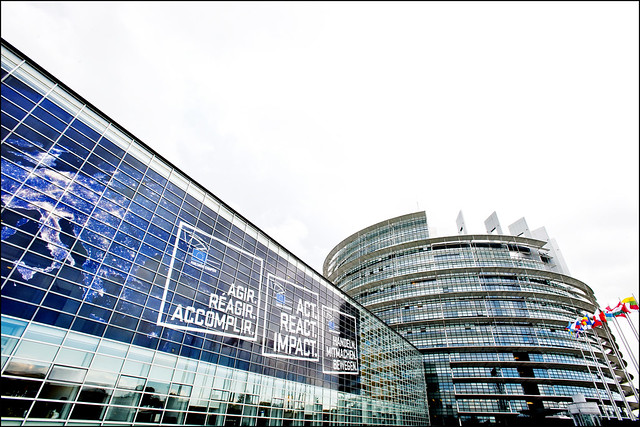 Building decorations displaying the slogan for the European election