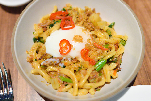 Braised Goat Gemelli rapini, fresno chili, garlic bread crumbs, poached egg