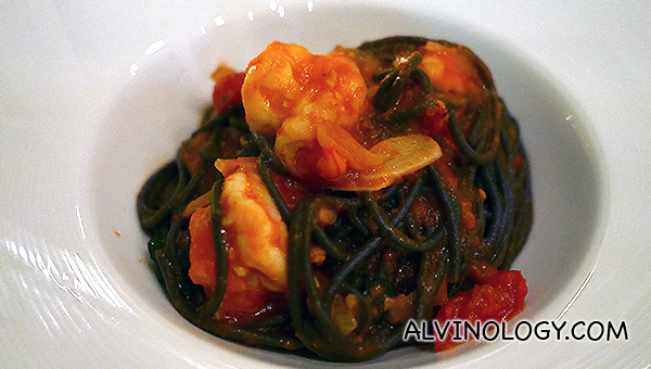 Squid Ink Spaghetti with Chunky Crab Meat in Light Tomato Sauce