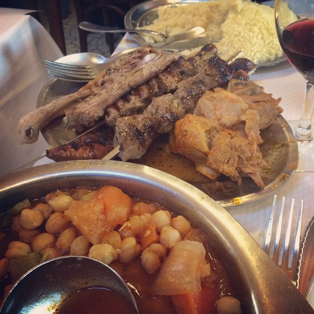 We ate Moroccan at Chez Omar for lunch. Basica concept- cous cous, veg and five tons of grilled meat.