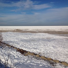 Sometimes the #lake gets #frozen in February. #lakemichigan #montrosebeach