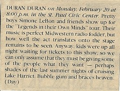 02/20/84 Duran Duran @ St. Paul Civic Center, St. Paul, MN (News Item)