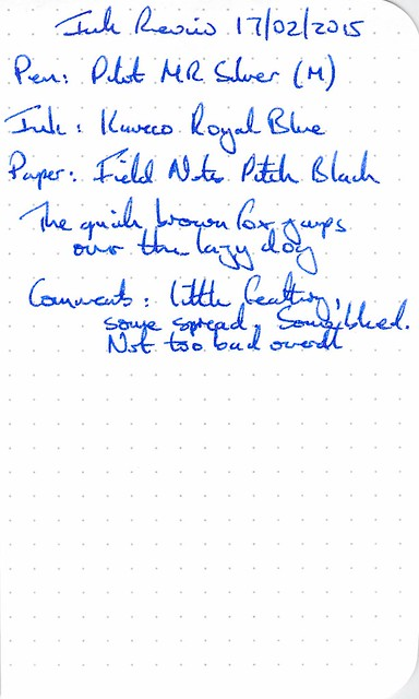 Kaweco Royal Blue Ink Review - Field Notes