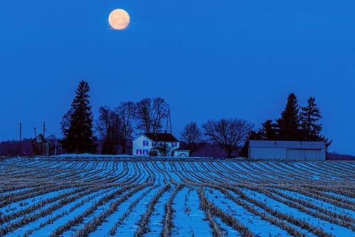 winter moon snow rio wisconsin rural sunrise unitedstates farm scenic ©jrj