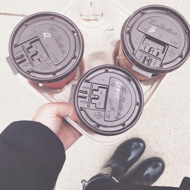 Drove through Tims on the after-school run. {looking down} #thebethadillychallenge #vsco #coffee