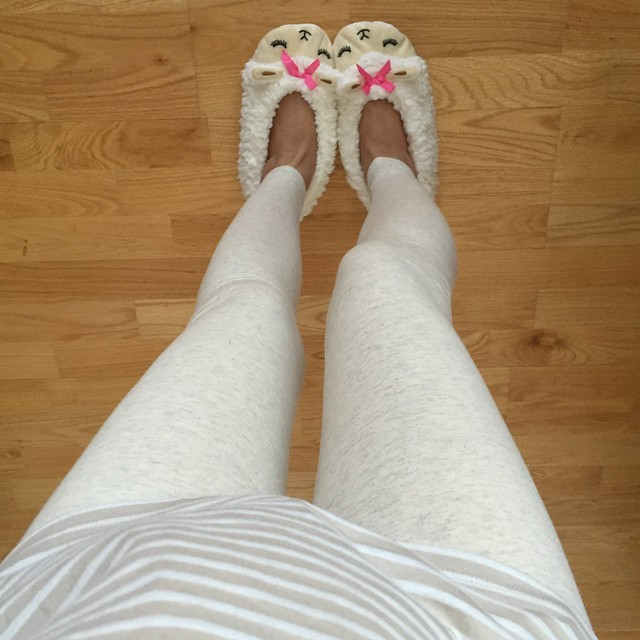 Forever 21 Classic Leggings, Striped Lace-Paneled top, Sleepy Sheep Slippers
