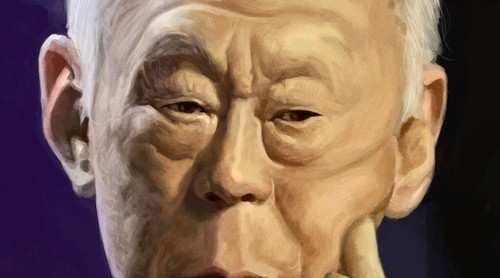 digital caricature of Lee Kuan Yew - 3a