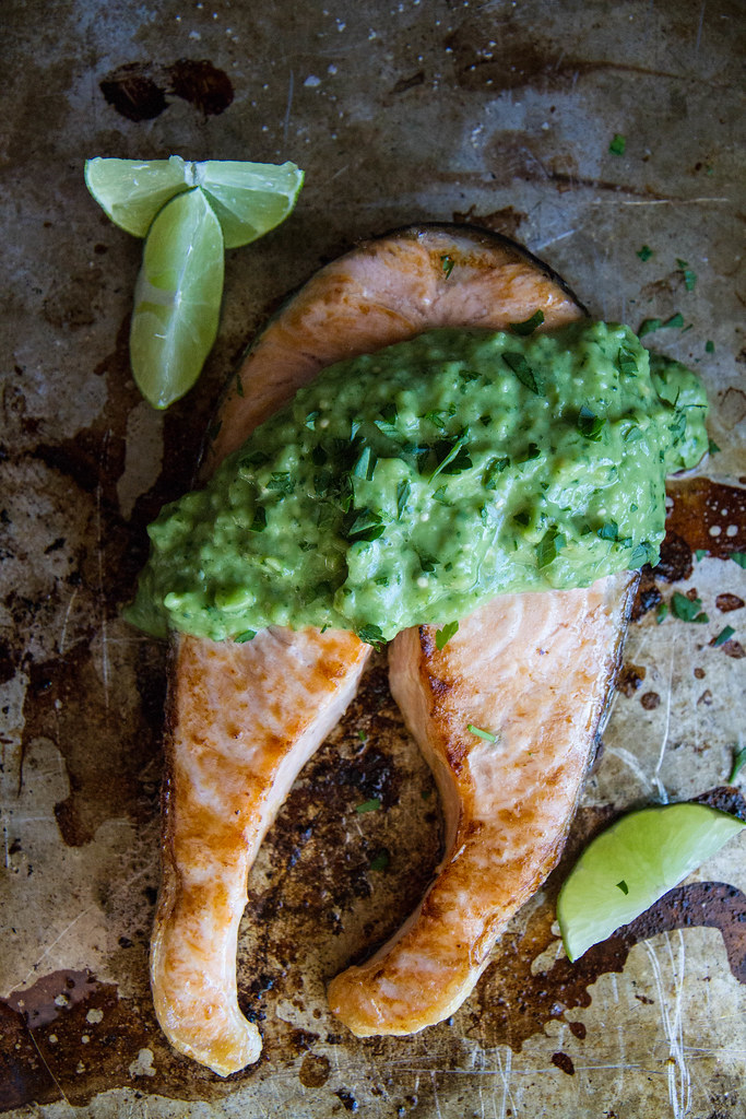 Broiled Salmon Steaks with Avocado Tomatillo Sauce