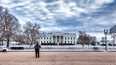 Peter-Duke posted a photo:	A lone guard stands a freezing watch in front of the White House in Washington, D.C.