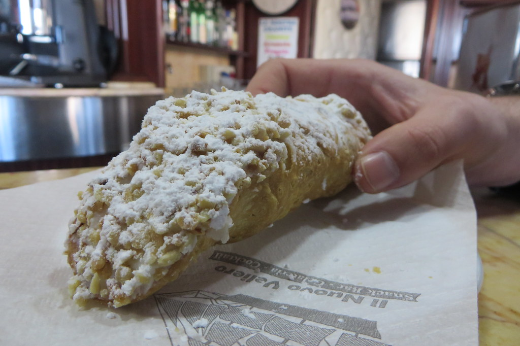 cannolo or cannoli in Messina, Sicily, Italy