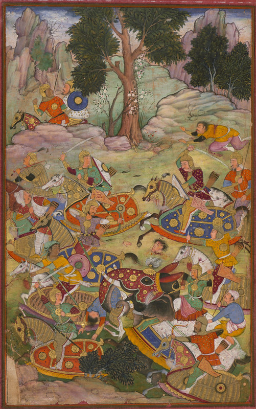 Death of Sultan Ibrāhīm in the battle of Panipat. From the Manuscript of Baburnama