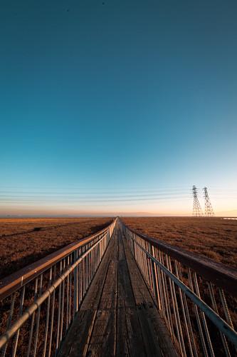 morning bridge landscape wooden horizon powerlines walkway paloalto sanfranciscobay marsh pylons baylands