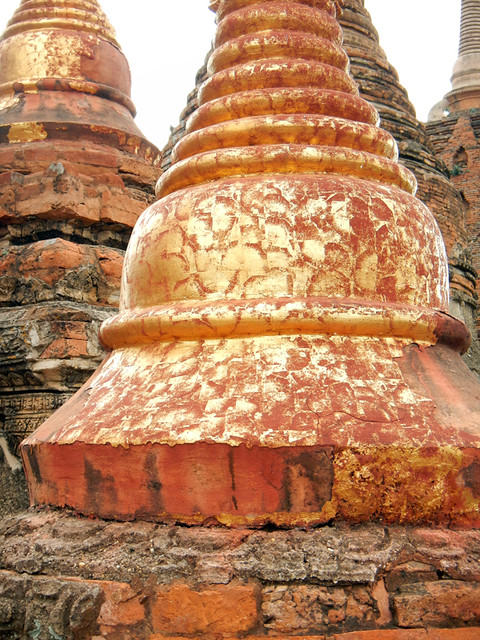 Gilded Stupas in Ananda Pagoda in Bagan, Myanmar