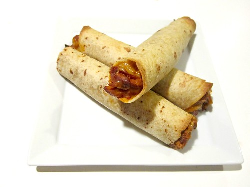 Raspberry Chipotle BBQ Chicken Taquitos
