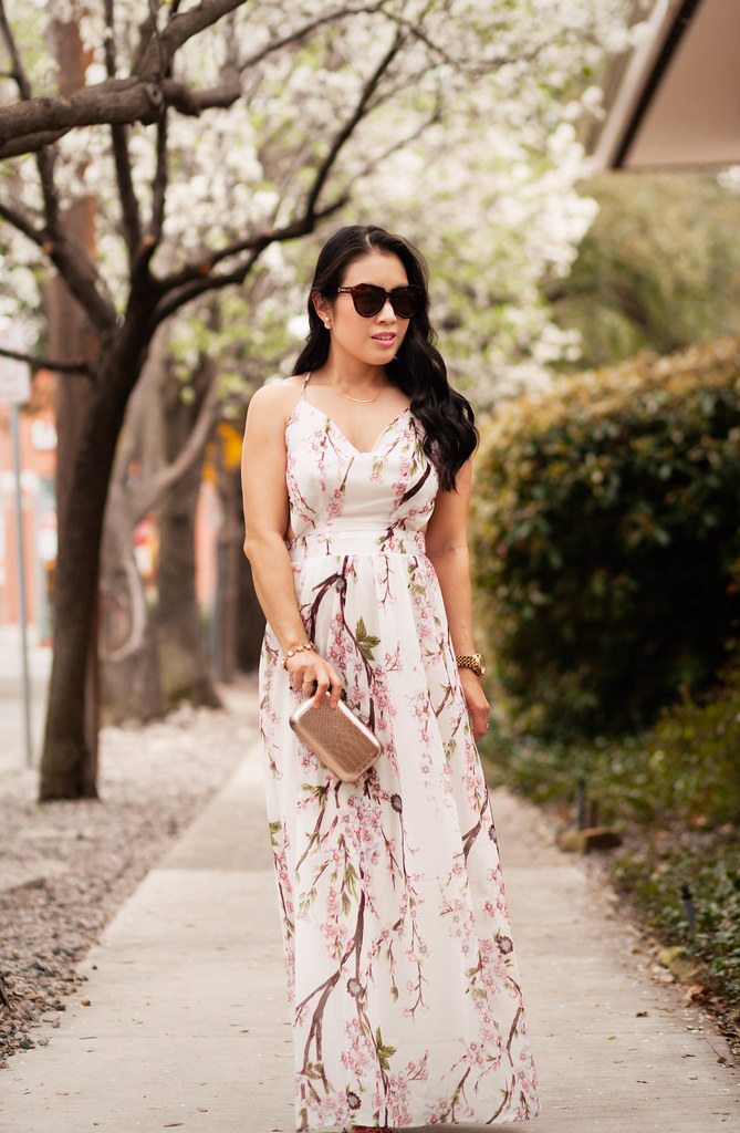 cute & little blog | petite fashion | sheinside floral spaghetti strap backless maxi, rocksbox gorjana taner necklace, gold clutch | spring outfit