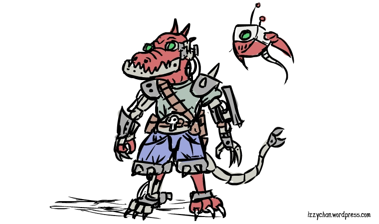 red cyborg gator guy and robot friend