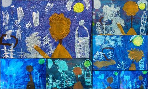 Paysage d'hiver à la manière de Paul Klee