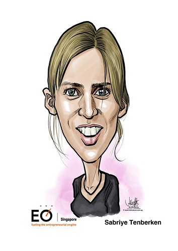Sabriye Tenberken digital caricature for EO Singapore