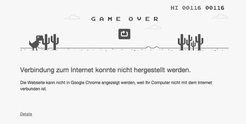 Google Chrome mit Dino Jump 'n' Run