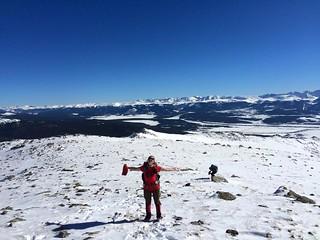 Clare Enjoying Bluebird Day on Mt Massive
